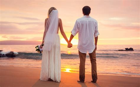 Just For Couples Had Just Married Sea Sunset Hd