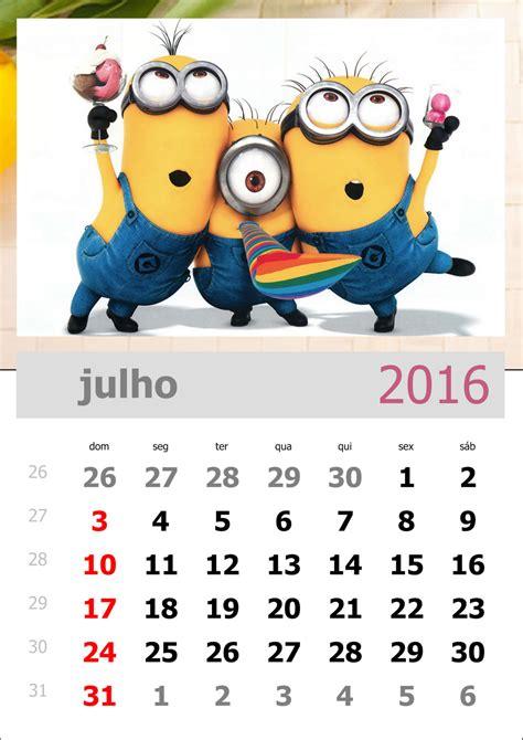 Calendario P 2016 Calend 225 Dos Minions 2016 Para Imprimir