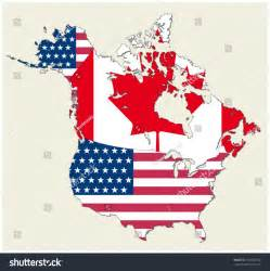 us canada flag map map states canada usa represented flag stock vector