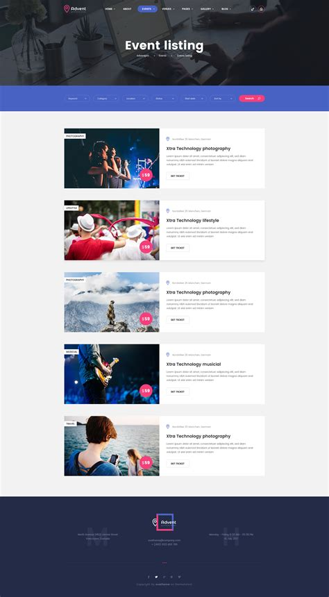 event listing website template stunning events website template images resume ideas