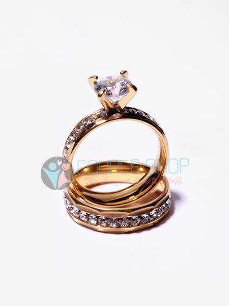 Cincin Pasangan Kawin Gold Hs09 Bahan Titanium Anti Pudar Free Ukir cincin 2016 shop