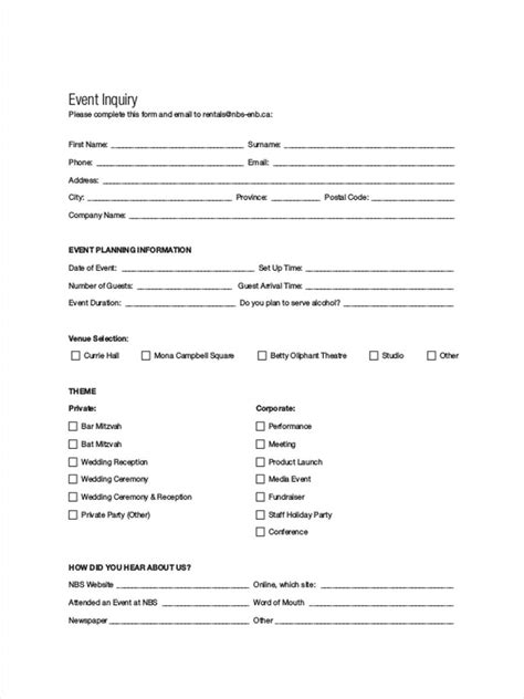 event enquiry form template 6 event inquiry form sles free sle exle