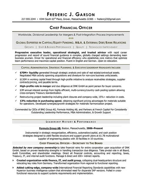 cfo resume template resume writer for cfos executive