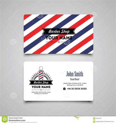 Hair Salon Barber Shop Business Card Design Template Stock Vector Illustration 56857027 Free Barber Business Card Template