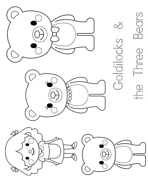 3 Bears Coloring Page by Goldilocks And Three Bears Free Colouring Pages