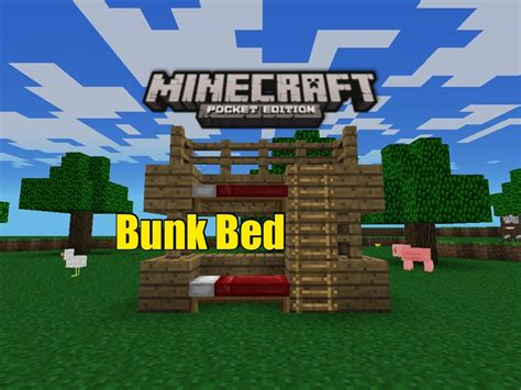how to make a bed in minecraft pe minecraft pe furniture bunk bed youtube