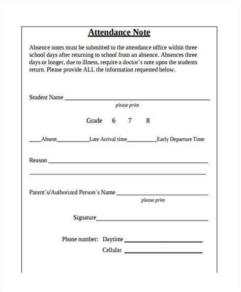 Attendance Note Template 14 Blank Note Exles Sles