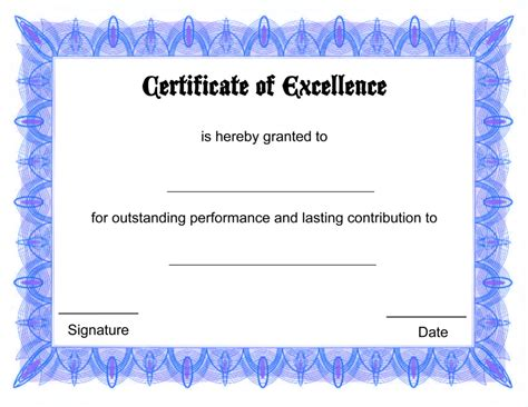 Award Certificate Template by Formal Free Award Certificate Template With Blue Border