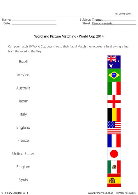 flags of the world lesson plan 40 free world cup worksheets and lesson plans