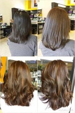 single process color vs highlights before and after single process color and balayage