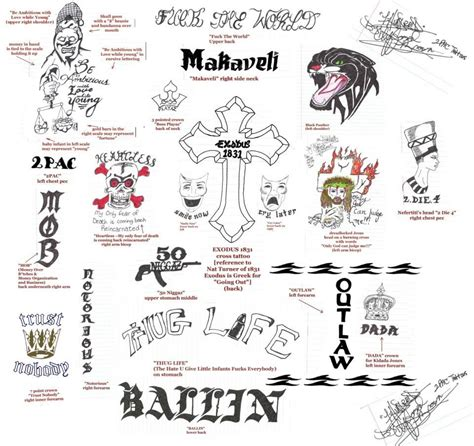 1 hundredd images all of tupac s tattoos drawn by 1