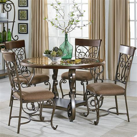 Metal Dining Room Table And Chairs Standard Furniture Bombay Table And Chair Set With Metal Scroll Detail Wayside Furniture