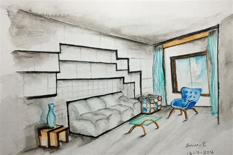 Interior Design Sketches One Point Perspective Time