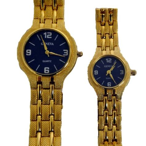 geneva his hers matching set gold bracelet with