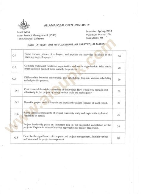 Managing Human Capital Mba Assignment by Project Management Code 5539 Level Mba Aiou Paper