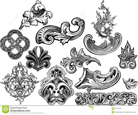 florals and scrolls vector set 2 royalty free stock photos