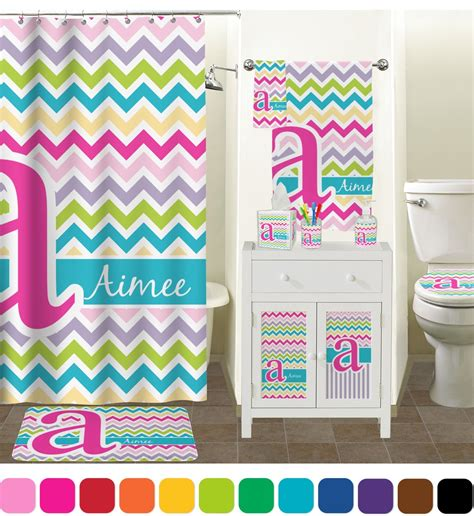 colorful chevron bathroom accessories set personalized