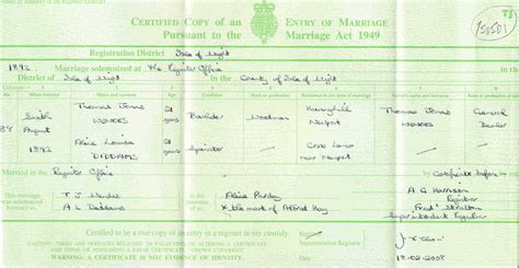 Uk marriage certificate sample