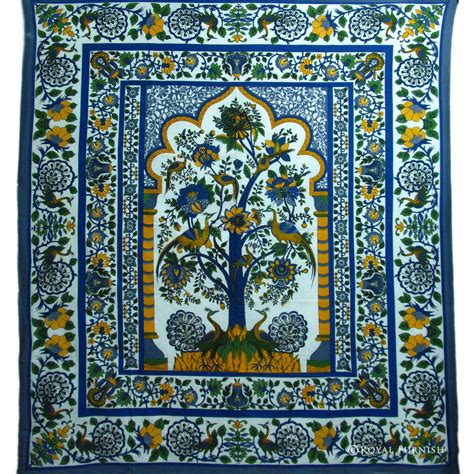 tapestry coverlet queen size blue white tree of life cotton indian peacock
