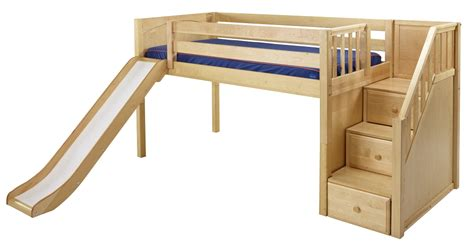 Loft Bunk Bed With Slide Maxtrix Low Loft Bed W Staircase On End Slide