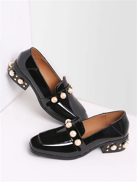 loafers with heels black pearl studded patent leather low heel loafers shein