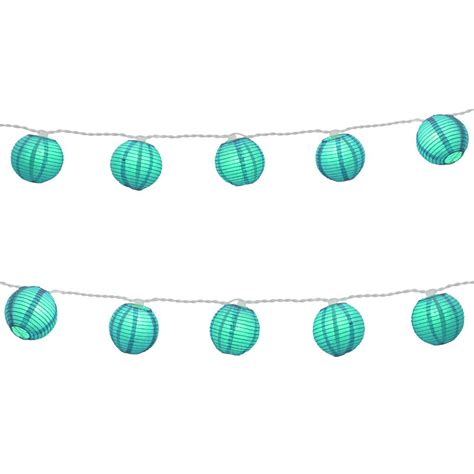 blue paper lantern string lights nylon lantern string lights in turquoise 76501 the home
