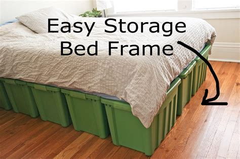 diy bed frame with storage diy bed frame with storage with large green plastic storage bins container and easy