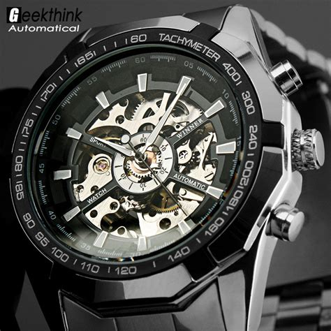 Jam Luxury S Skeleton Stainless Steel Transparent Hollow Leather W luxury s black steel transparent skeleton automatic mechanical wrist watches dress