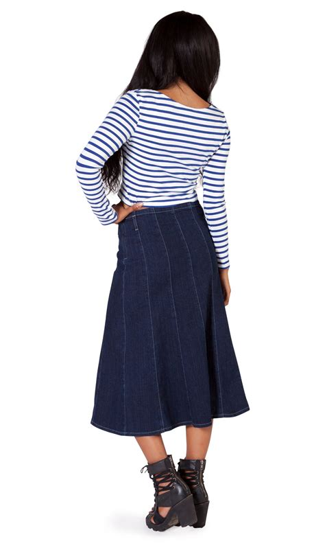 indigo panelled denim skirt mid length denim skirts