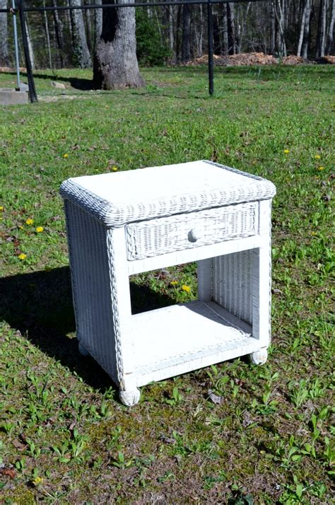 Wicker Nightstand White vintage white wicker nightstand table chest shabby cottage