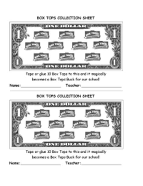 10 buck box quot box tops buck quot collection sheet pto today