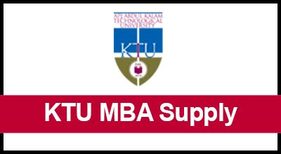 Mba Supply by Ktu Mba T2 Supplementary Registration Edu Kerala