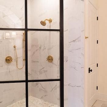 Shower Door Frame Kit Glass And Marble Shower Enclosure With Brass Shower Door Handle Transitional Bathroom