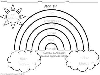 spanish rainbow coloring page rainbow spanish religious printable coloring sheet