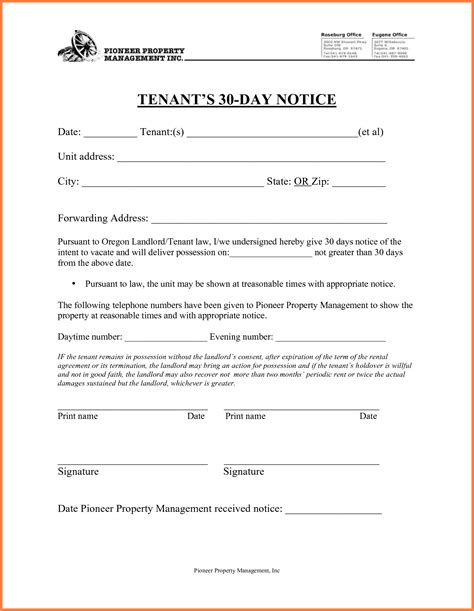 60 day notice letter to landlord template 30 day rental notice template