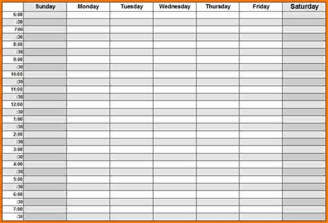 weekly calendar template with hours weekly calendar printable free calendar template 2016