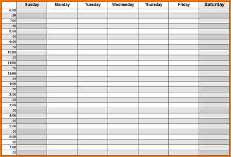 Weekly Calendar With Hours   weekly calendar template
