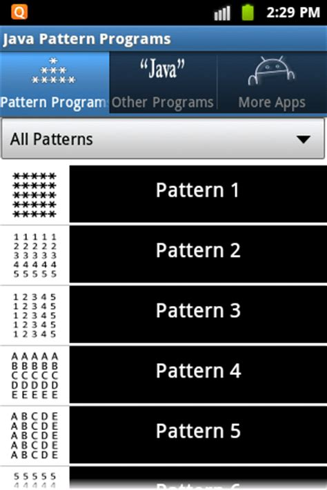java program for different pattern java pattern programs android apps on google play