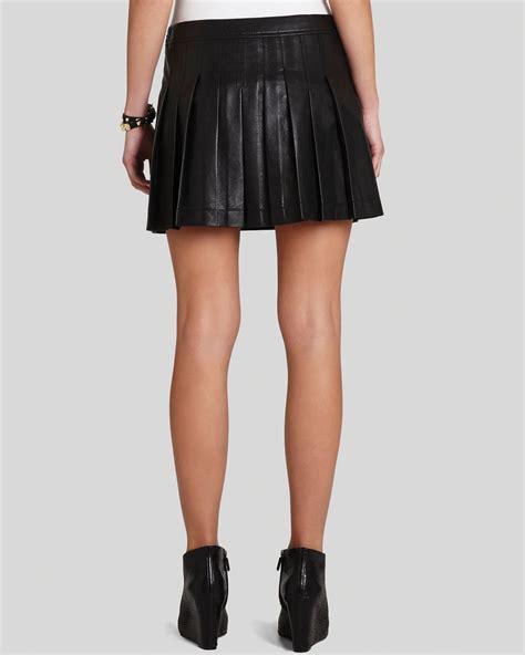 black leather pleated skirt bcbgmaxazria mini skirt shane pleated faux leather in
