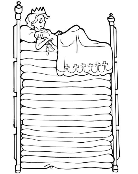princess and the pea coloring page princess on mattresses