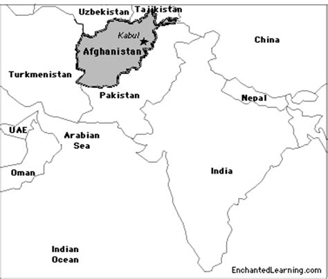 middle east map kabul afghanistan enchantedlearning
