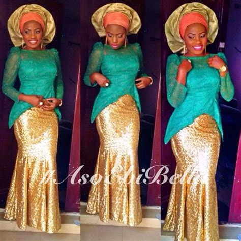 aso okebella styles blue lace blouse with sequined skirt orange gold aso
