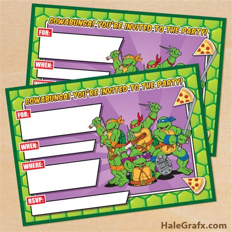 printable ninja turtle invitation template free printable retro tmnt ninja turtle birthday invitation
