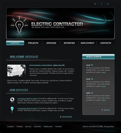 10 Most Popular Electrical Website Templates Tonytemplates Blog Free Electrician Website Template