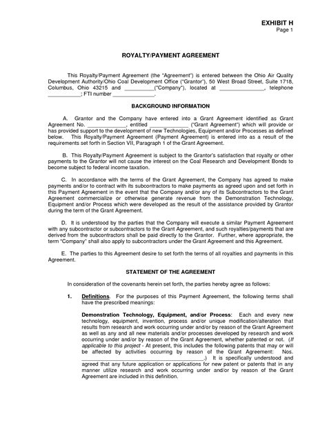 royalty agreement template royalty agreement pdf by oly19302 royalty agreement