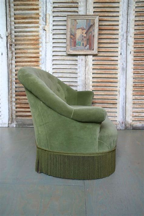 green velvet settee small french settee in green velvet for sale at 1stdibs