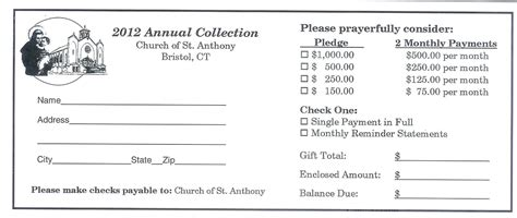 church finacial pledge cards template template pledge template