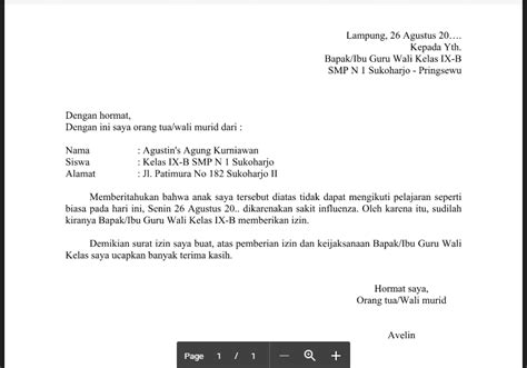 Contoh Surat Izin Sekolah Sma by Contoh Surat Izin Tidak Masuk Sekolah Untuk Siswa
