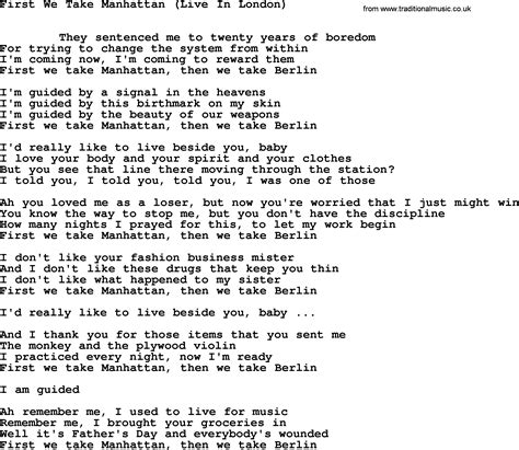 manhattan live leonard cohen song we take manhattan live lyrics