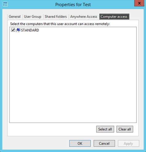 rdp standard allow remote desktop to a standard domain user
